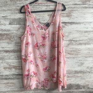 Floral Print Chiffon Hi-Lo Tank Top